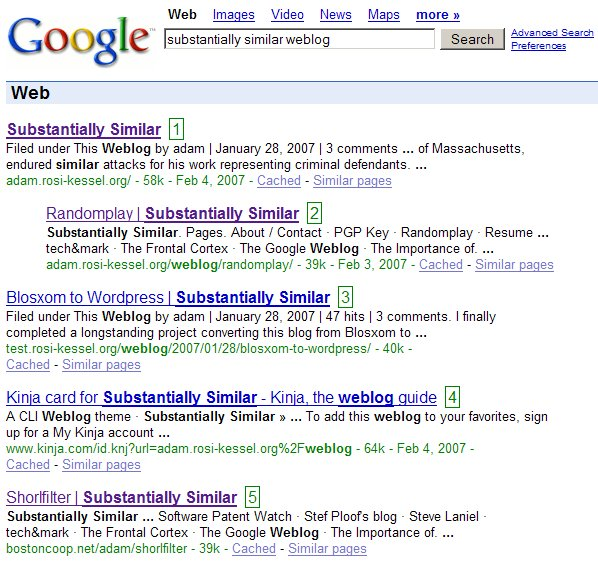 Substantially Similar Web Search